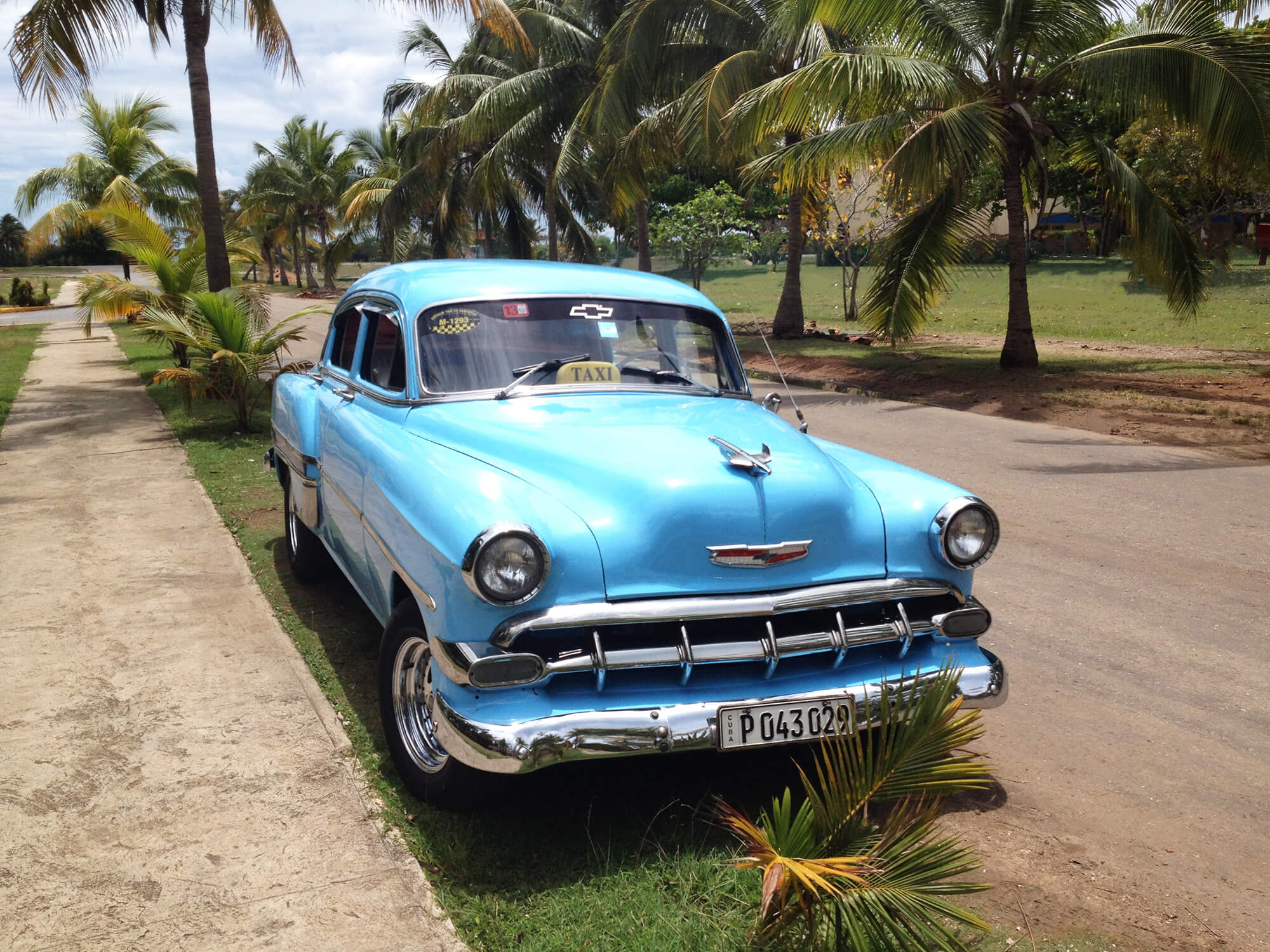 Blue Cuban Car on the Street