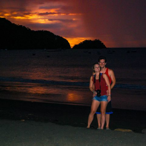 Joey and Ali with the Sunset Sky in Costa Rica