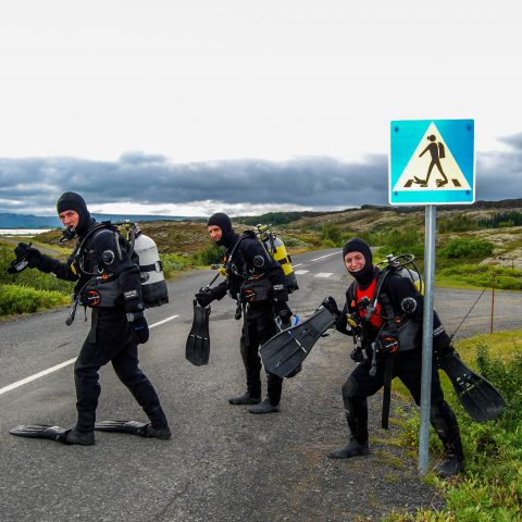 The Three Musketeers with the Scuba Crossing Sign