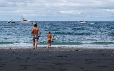 Dad, Joey and Ali Going into the Ocean to Snorkel