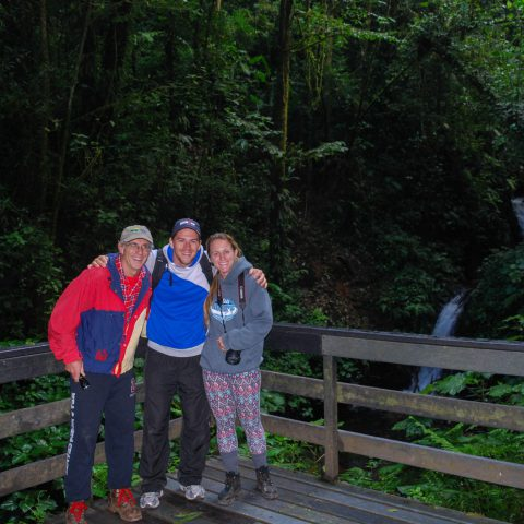 Dad, Joey and Ali by the Waterfall in the Cloud Forest of Costa Rica