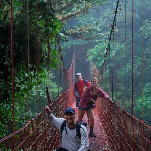 Dad, Joey and Ali on the Suspension Bridge of Monteverde, Costa Rica