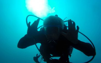 Dad Making an Underwater Face at Catalina Islands