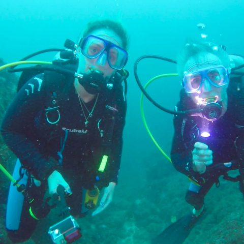 Dad and Ali Taking a Scuba Diving Picture Together in Costa Rica