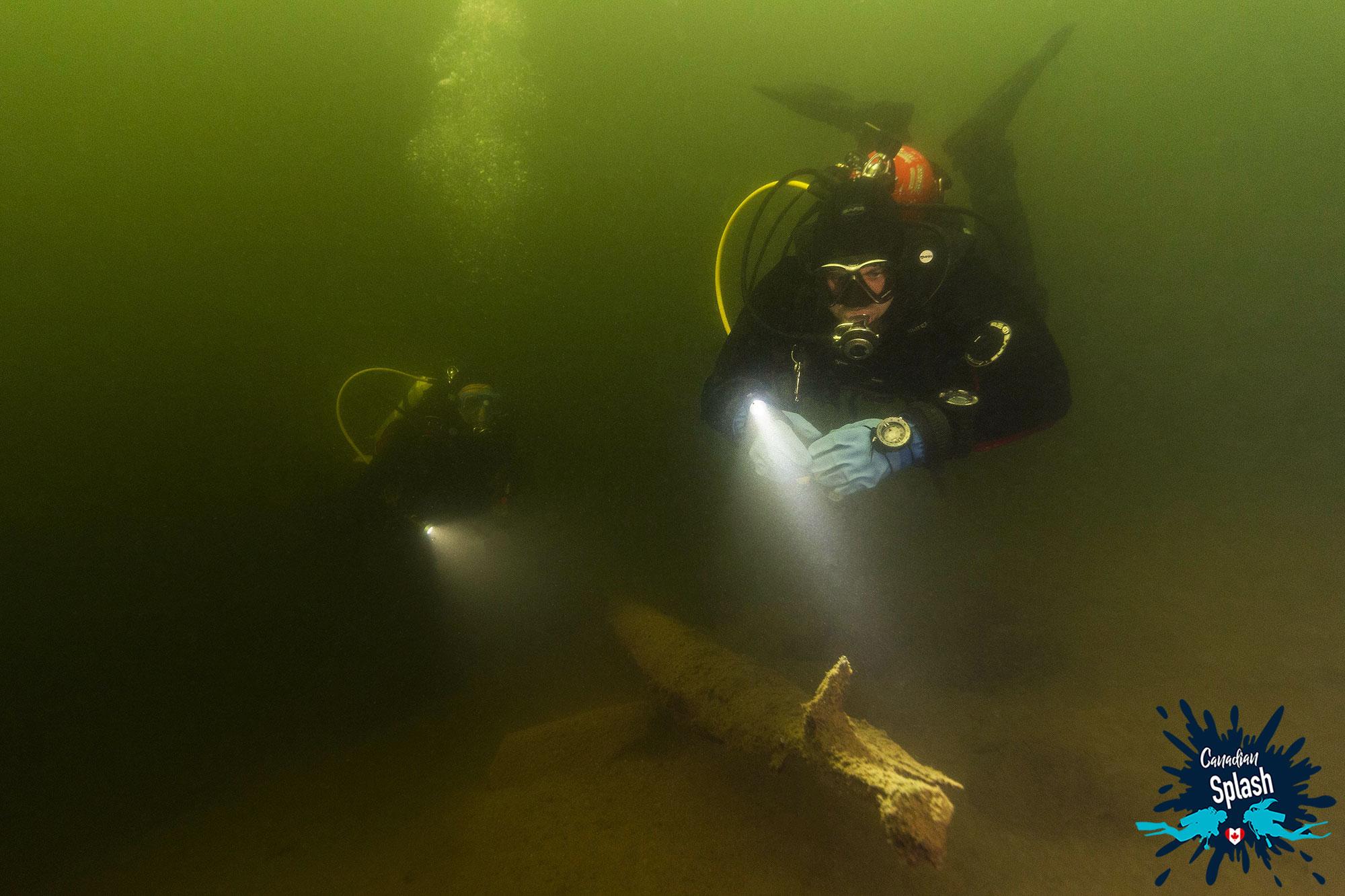 Dad And Joey Scuba Diving In Lake Temagami, Finlayson Provincial Park, Ontario, Canada