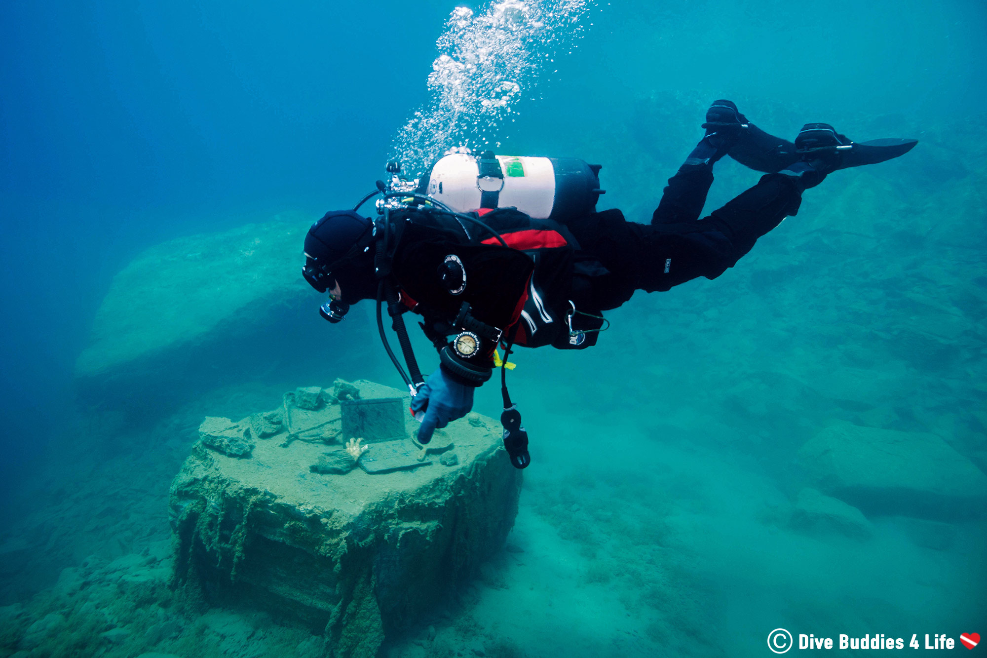 Dad The Scuba Diver Emptying His BCD For A Shallow Safety Stop, Scuba Diving Canada