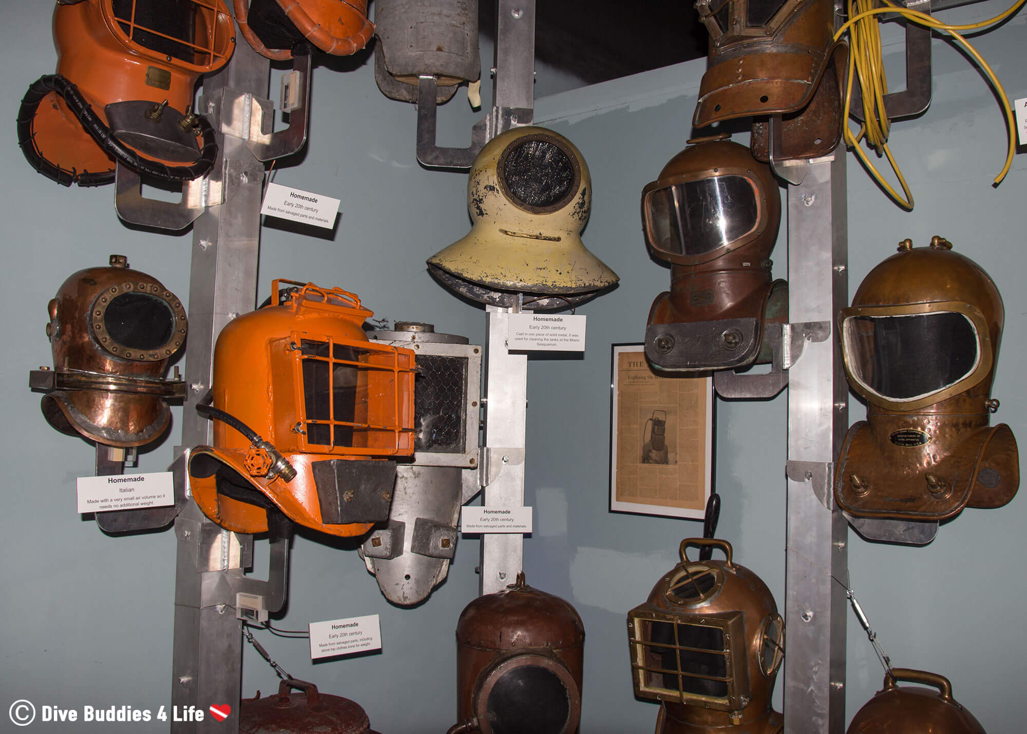 Dive Helmets Mounted To A Wall In The Florida Keys