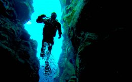 Dive Shadow in the Silfra Crack