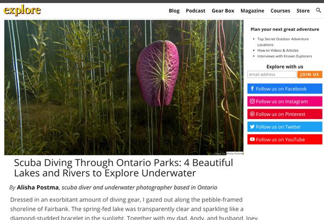 Explore Magazine Ontario Parks Underwater Feature