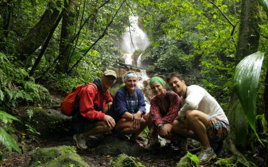 A Family Picture near a Costa Rican Waterfall