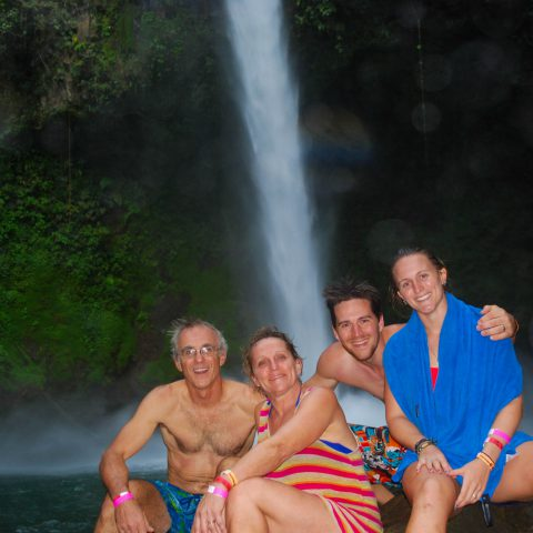 A Family Picture at the La Fortuna Waterfalls in Costa Rica