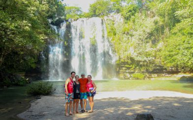 The Family and the Cortez Waterfall in Costa Rica