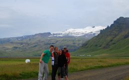The Family with Icelandic Snow Capped Mountains
