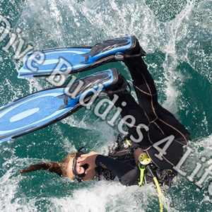 Female Scuba Diver Back Rolling Into The Water Shop Image