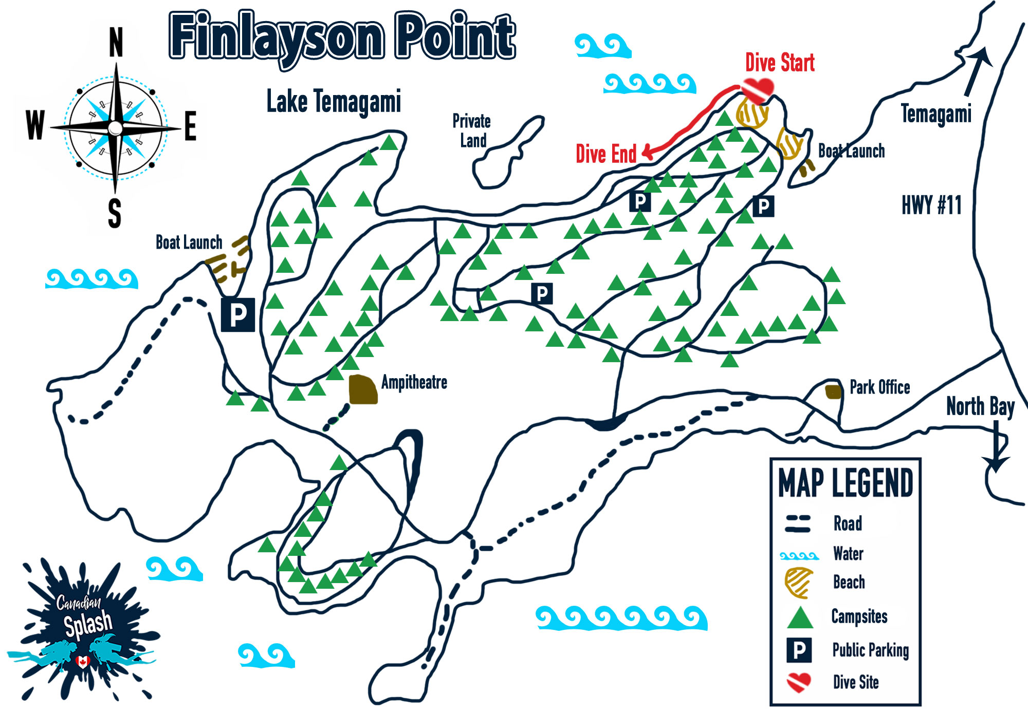 Finlayson Point Provincial Park Map And Dive Site Entry And Exit Point
