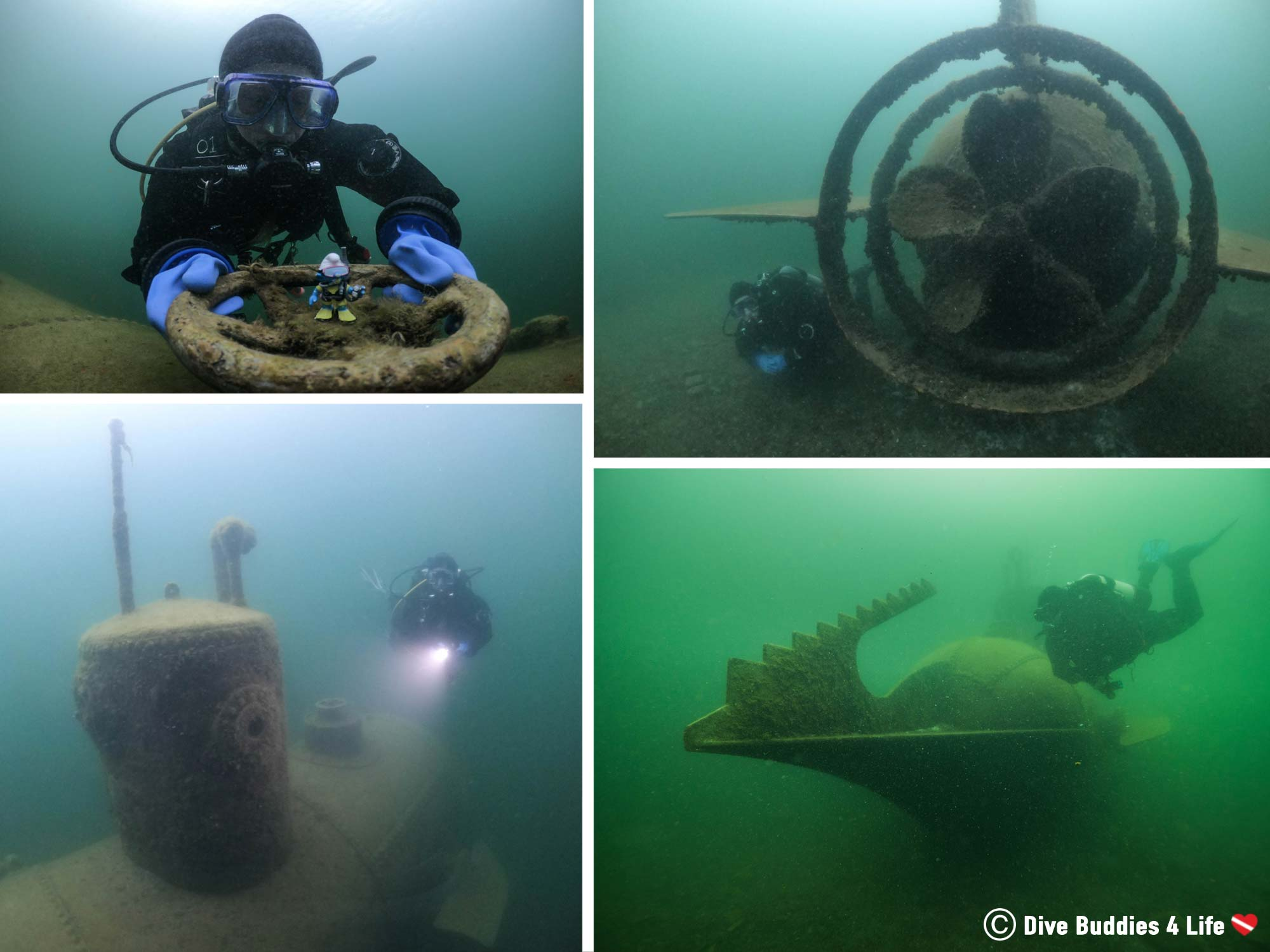 Four Pictures Of A Scuba Diver Playing At The Nemo Submarine In Stoney Cove, England, UK