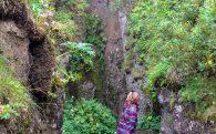 Ali Looking Up the Gljúfrabúi Waterfall