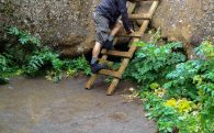 Gljúfrabúi Waterfall and Joey Climbing the Ladder