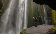The Gljúfrabúi Waterfall with Joey on a Rock