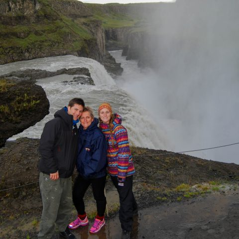 The Powerful Gullfoss Waterfall with Joey, Mom and Ali