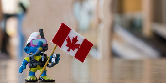 Scuba Joe with a Canadian Flag