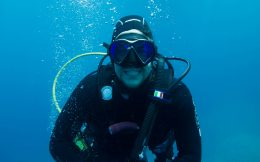 Joey is All Smiles While Diving in Greece