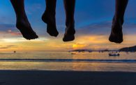 Mom and Dad's Feet in Costa Rica at Sunset