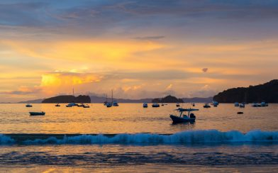 The Sunset Reaching the Boats in the Harbour of Playa del Coco, Costa Rica