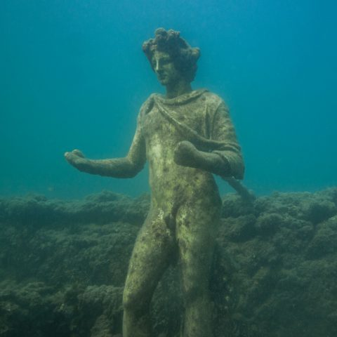 A Beautiful Underwater Roman Statue from Italy's Archeological Dive Site