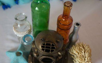 Bottles and Scuba Helmet Decor