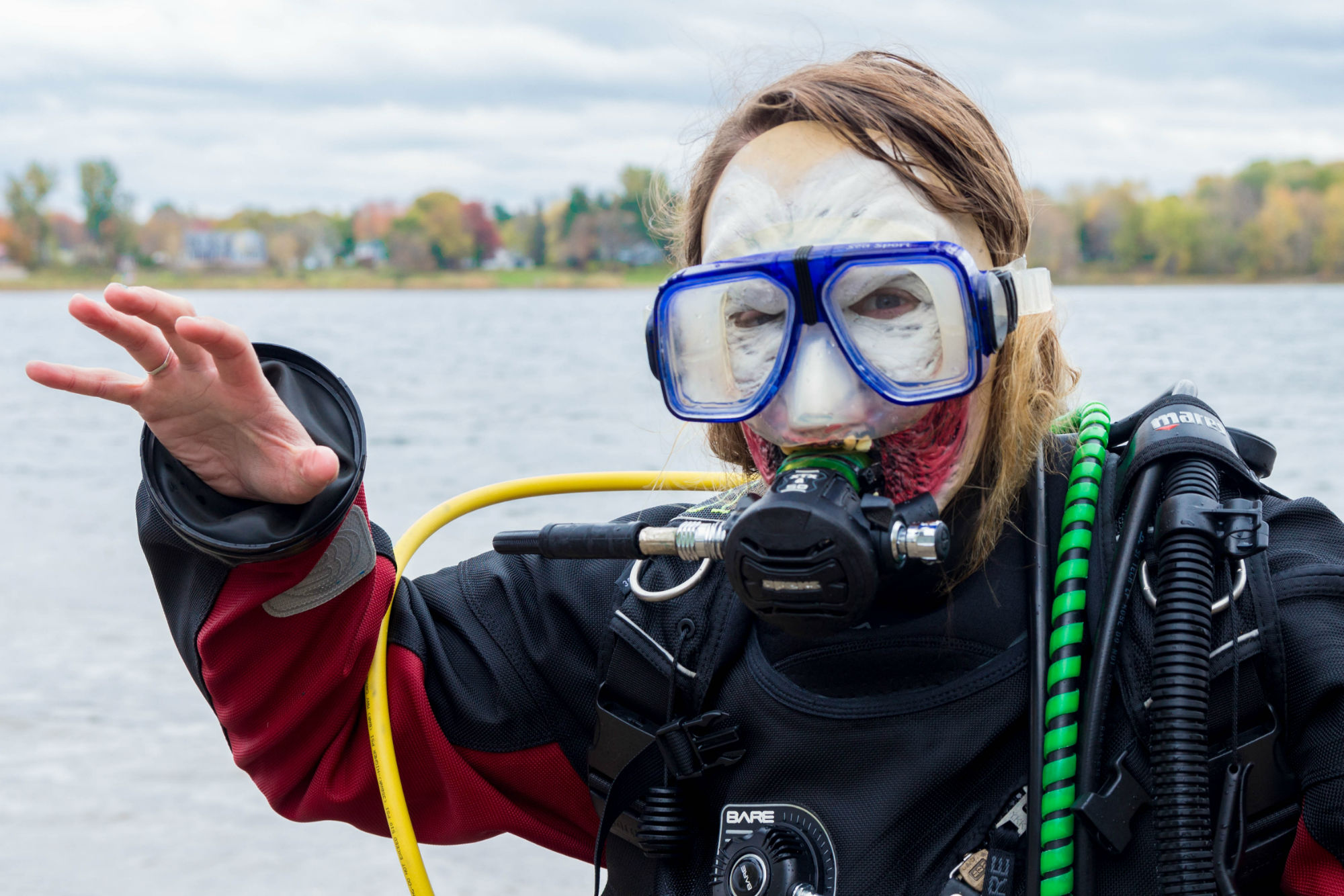 Ali in Her Zombie Mask and Diving Mask
