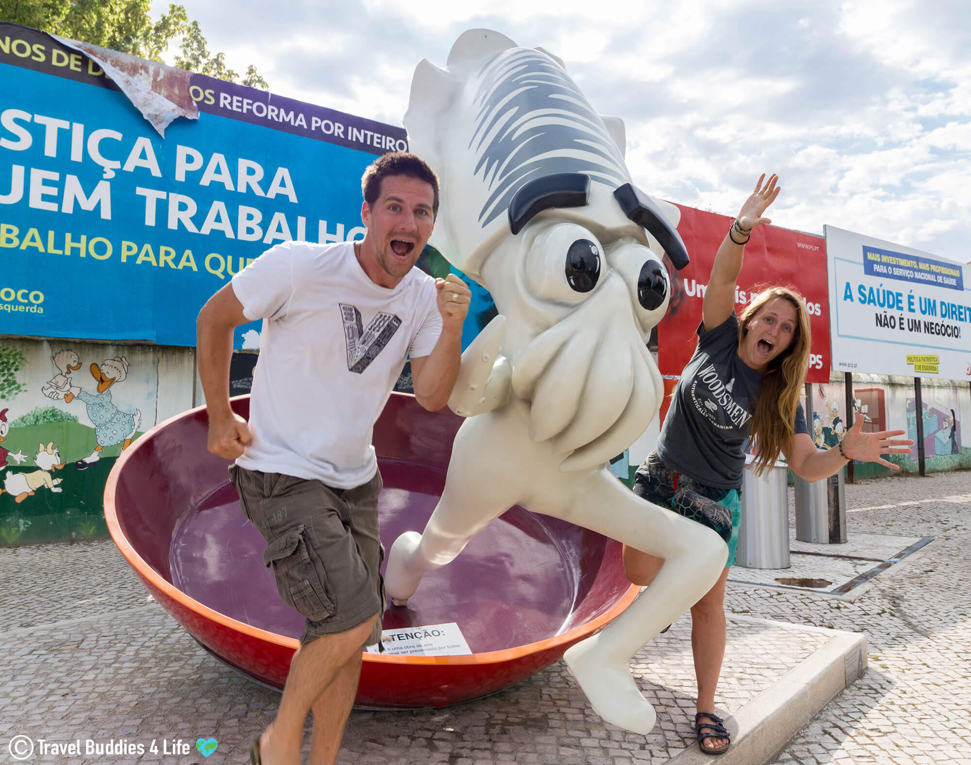 Joey, Ali And The Cuttlefish Running From The Frying Pan In Setúbal, Portugal
