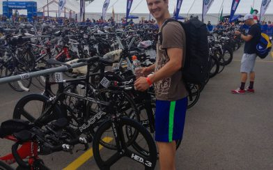 Joey Checking His Race Bike At The Ironman