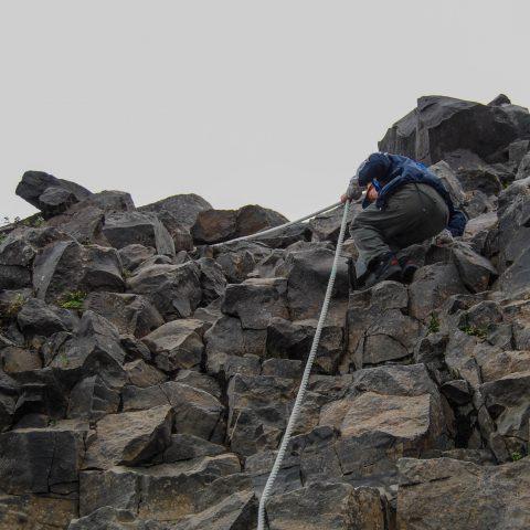 Joey Climbing Down a Cliff