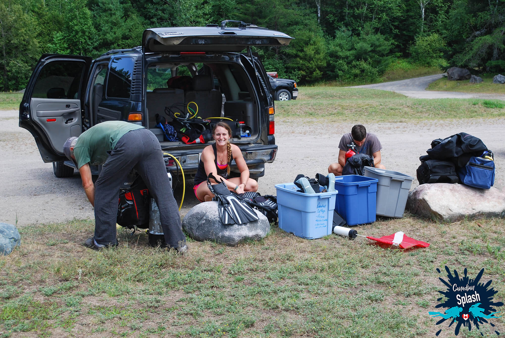 Joey, Dad And Ali Preparing Scuba Gear At Marten River Provincial Park, Ontario Parks, Scuba Diving Canada