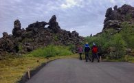 Joey, Dad and Ali going on a Hike in Dimmuborgir, Iceland