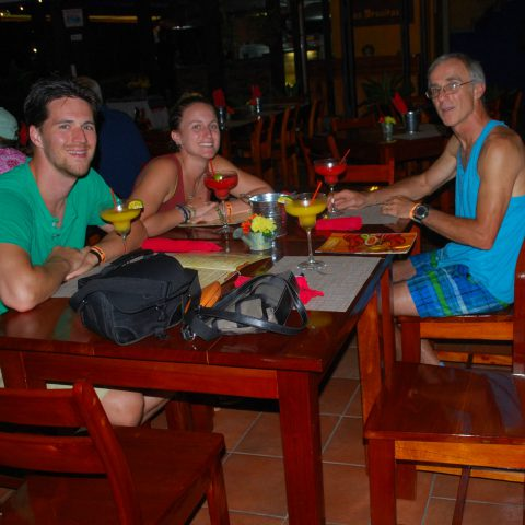 Joey, Dad and Ali having Supper at an Outdoor Restaurant in La Fortuna