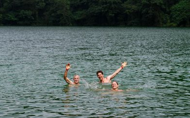 Joey, Dad and Ali in the Water Chato Volcano Crater