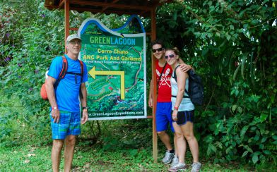 Dad and Ali with the Chato Volcano Hike Sign