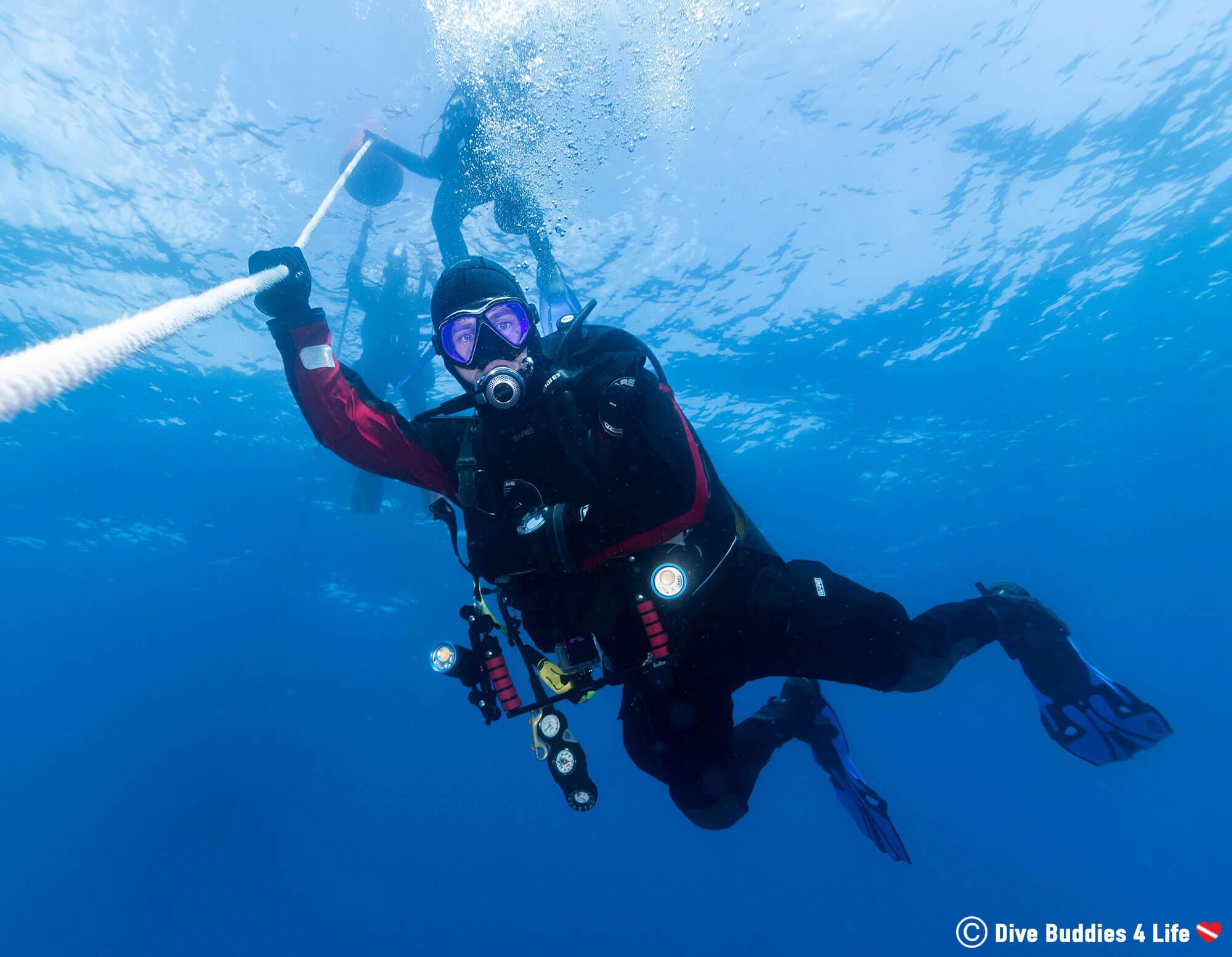 Joey Descending Down The Anchore Line In Spain's Marine Park Islas Hormigas
