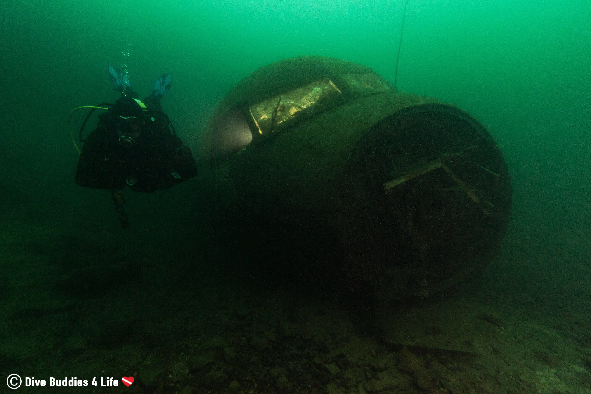 Joey Displaying Neutral Buoyancy In The Vobster Inland Quay With A Sunken Airplane, England, UK