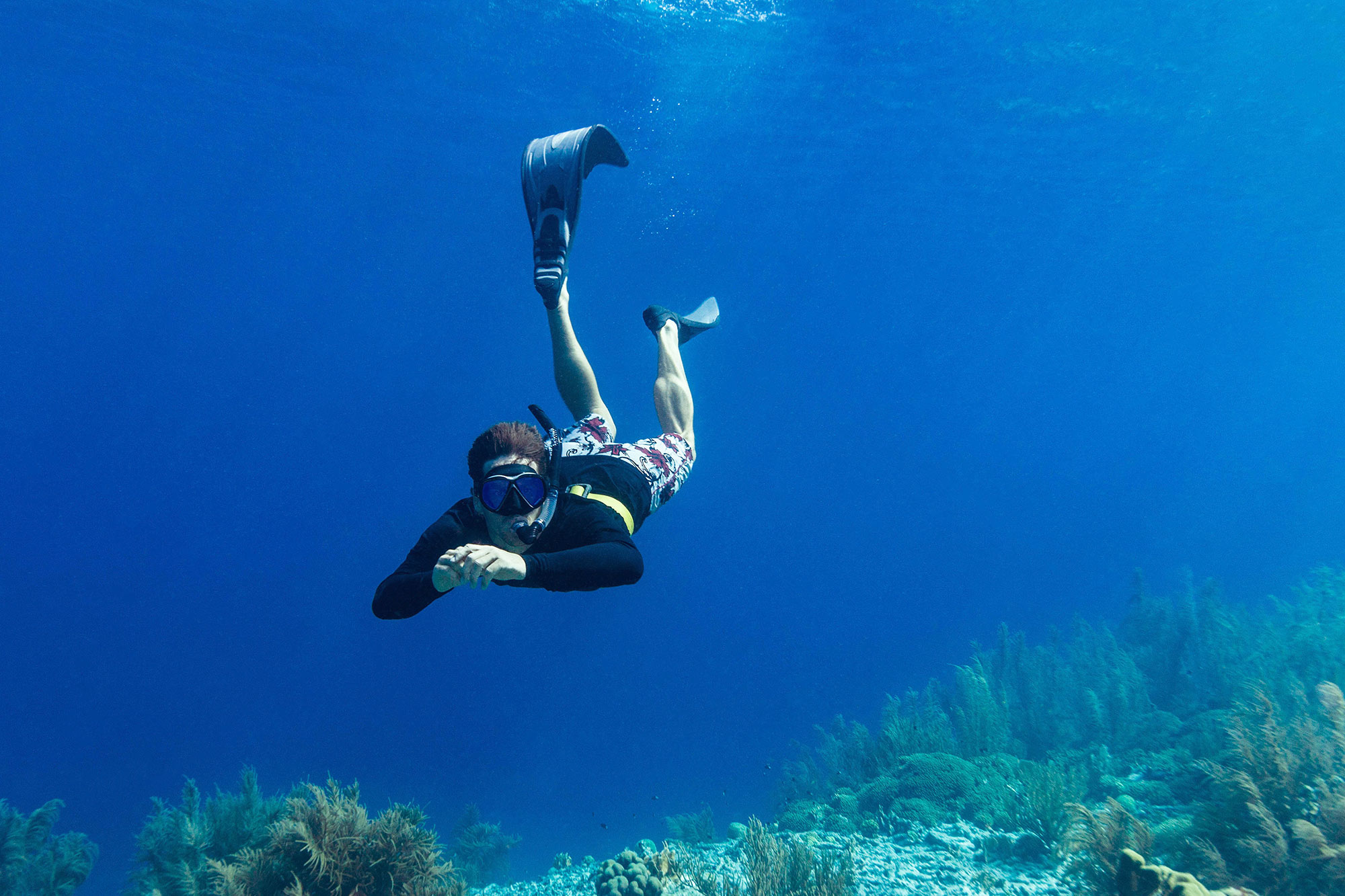 Joey Diving Down Underwater With His Snorkeling Equipment In Bonaire, Dutch Caribbean