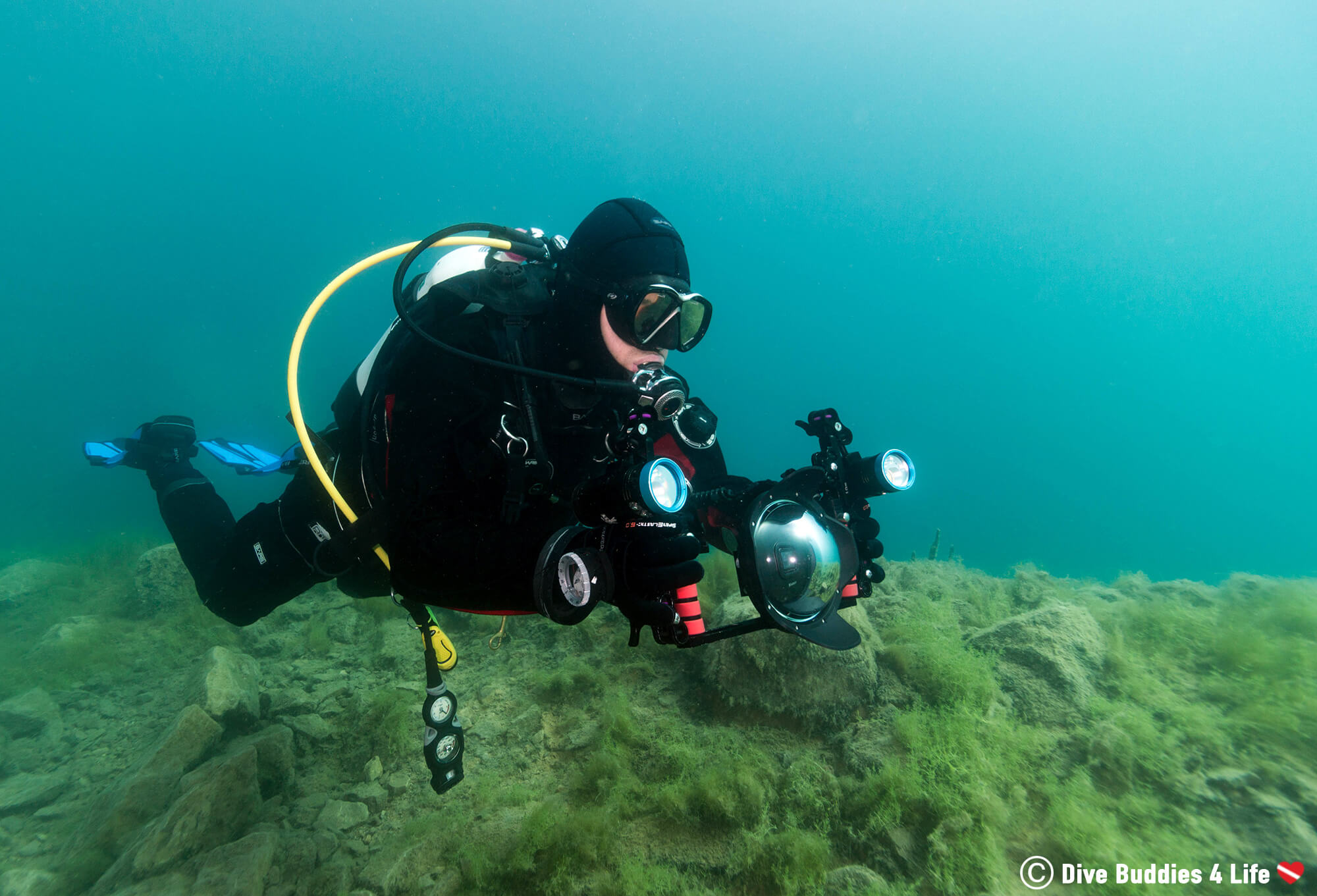 Joey Diving With His GoPro Dome Port Lens In The Chepstow Quarry, Wales, UK