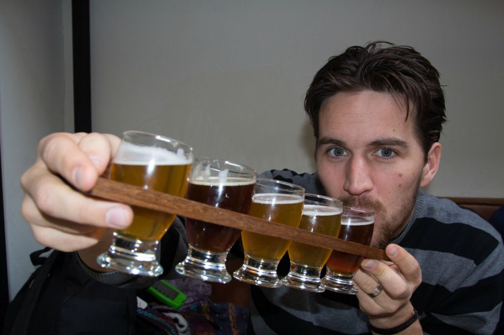 Joey Drinking His Tray Of Beer At The Windmill Brewery In Amsterdam