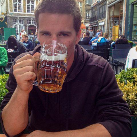 Joey Drinking some Belgian Beer