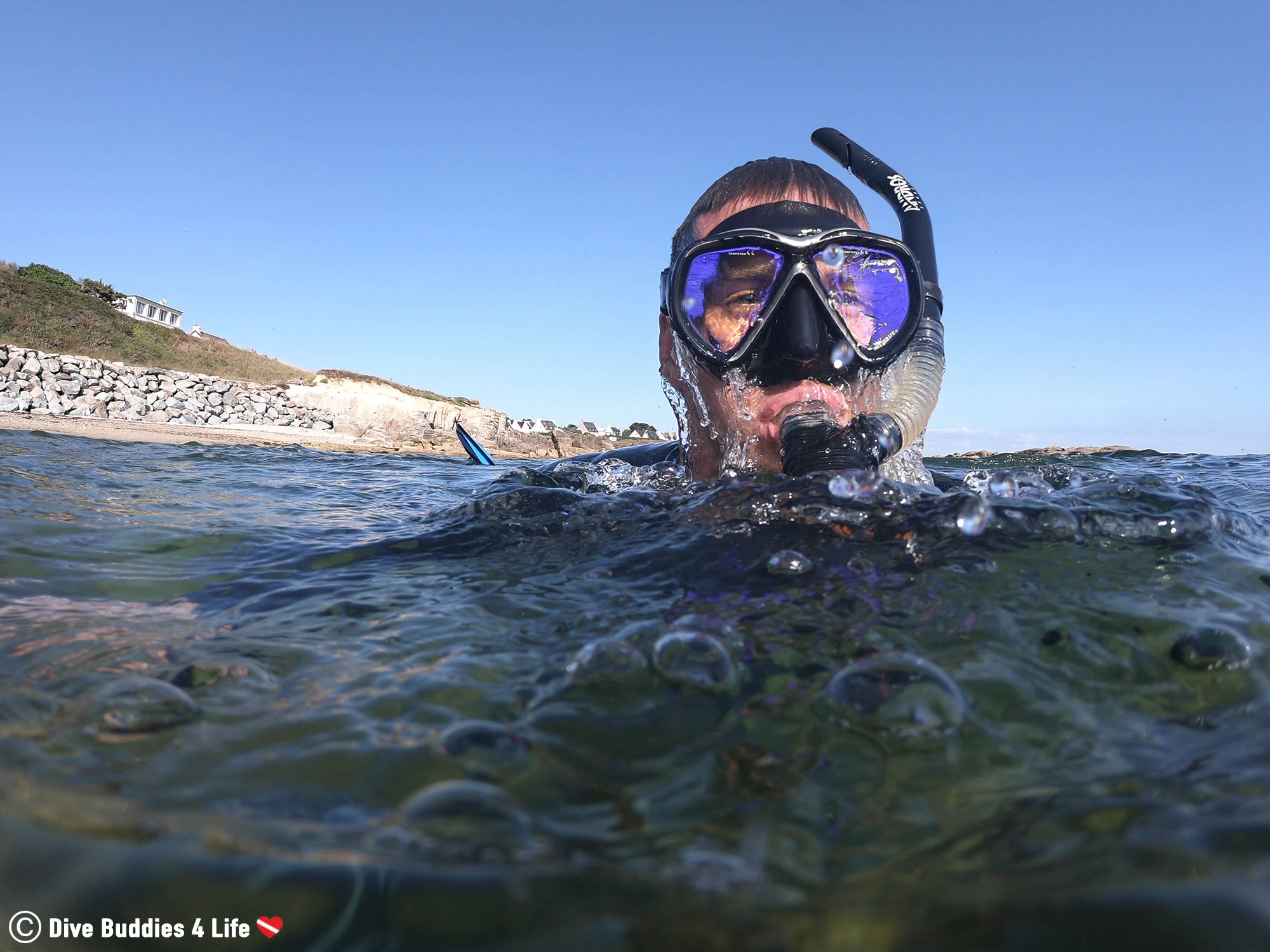 Joey Emerging From The Water In France With His Mask And Snorkel, Underwater Europe