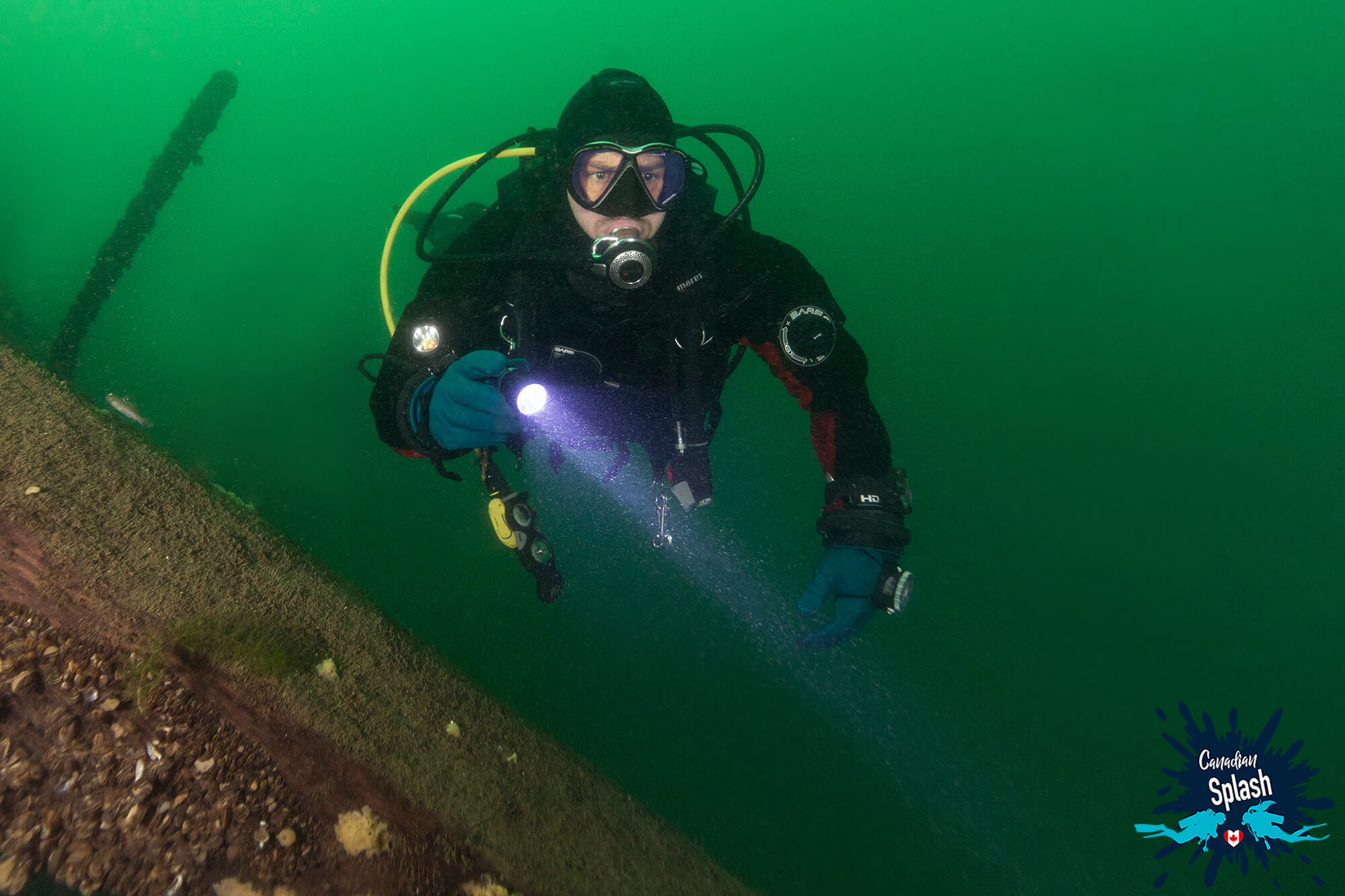 Joey Exploring The Robert Gaskin Ship, Ontario Scuba Diving, Canada