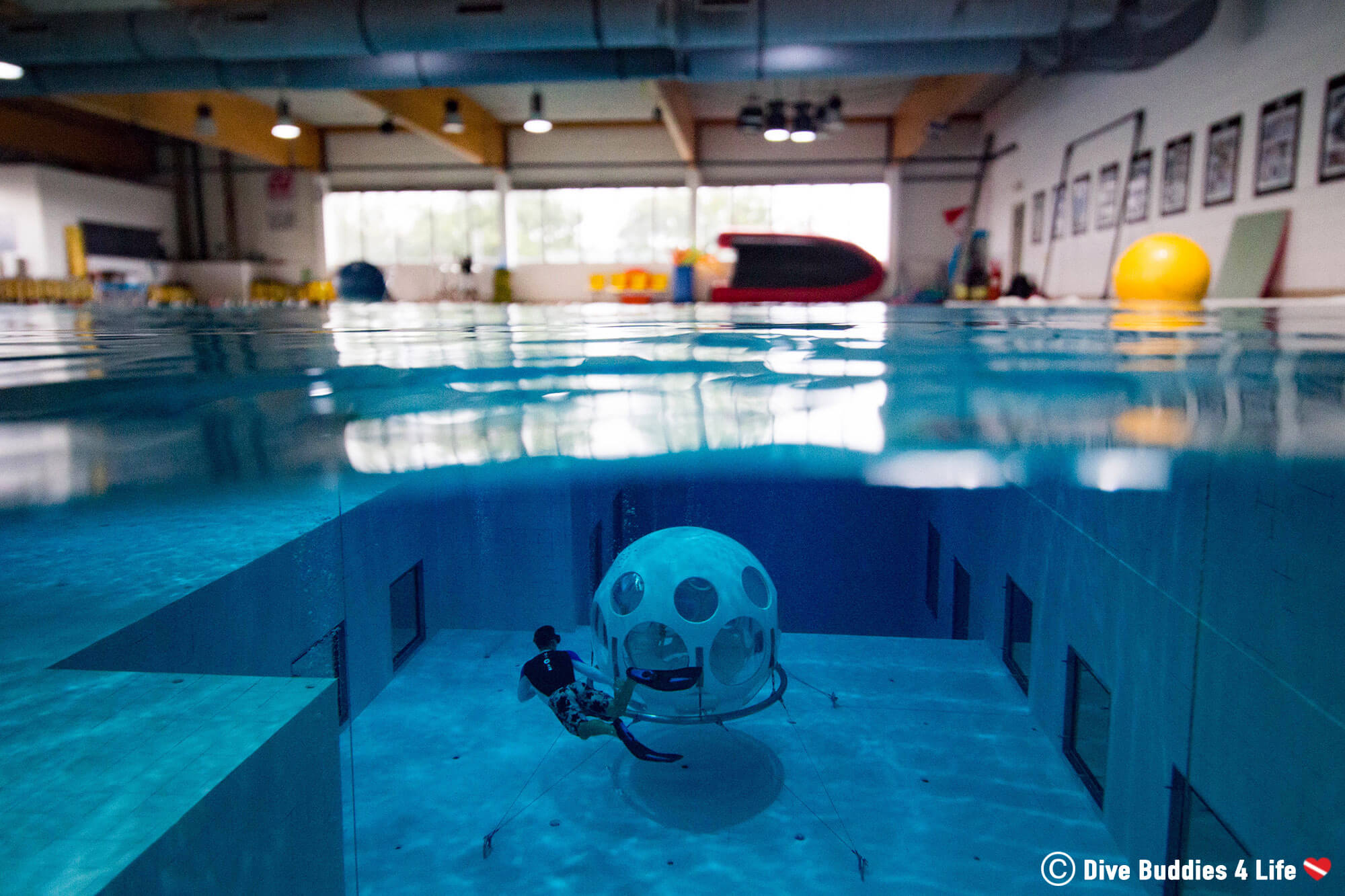 Joey Free Diving Into The Depths Of The Nemo 33 Second Deepest Indoor Pool In The World, Belgium, Europe