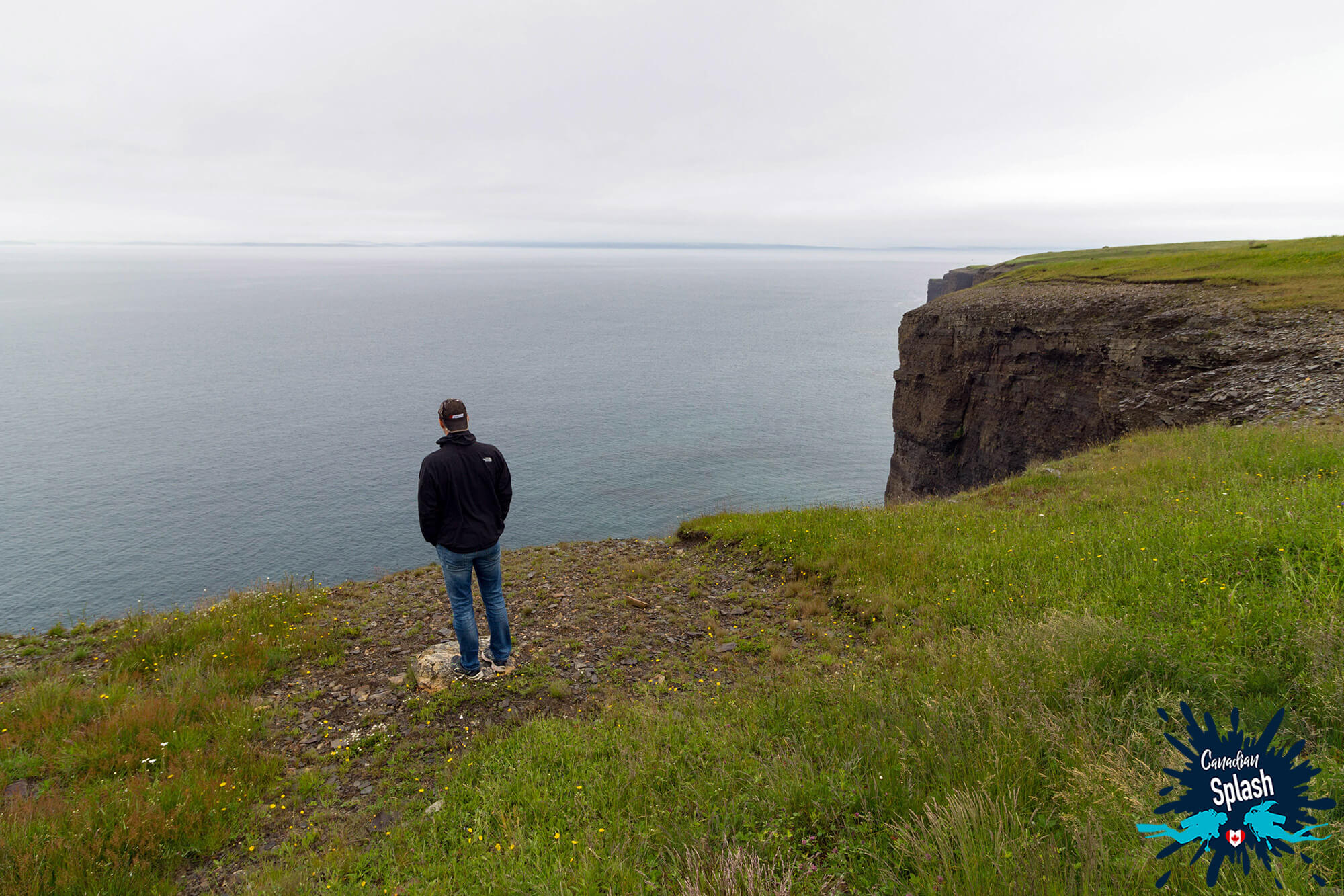 Joey Gazing Out On The Ocean From The Shore Of Bell Island, Newfoundland, Travelling Canada