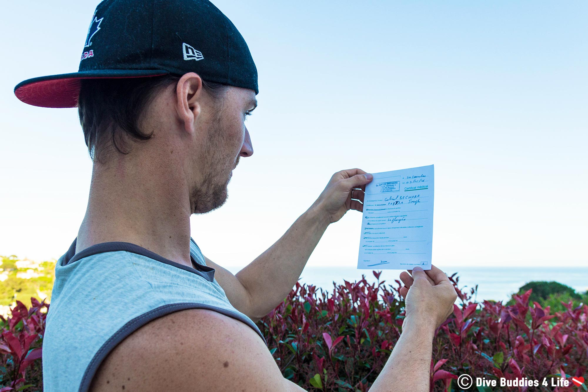 Joey Getting A Doctors Note Along Les Côte D'Azure To Go Scuba Diving In France, Europe